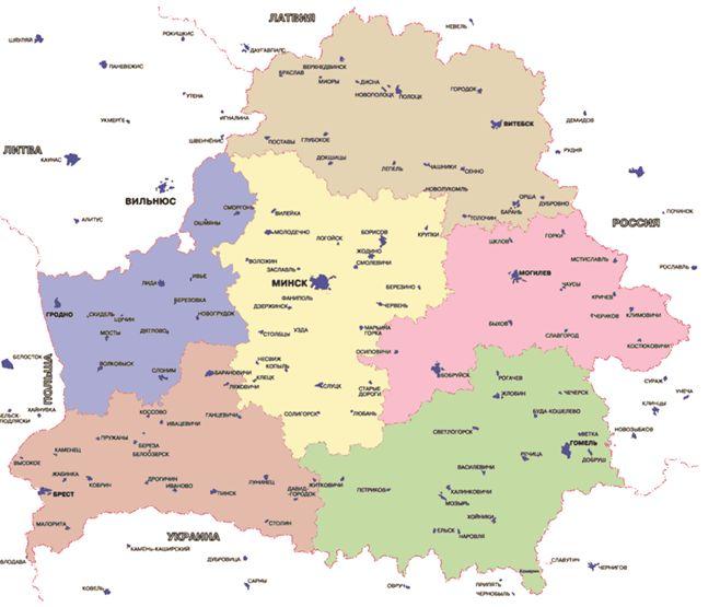 Карта железных дорог Беларуси, Белоруссии. Скачать карту Белоруссии.