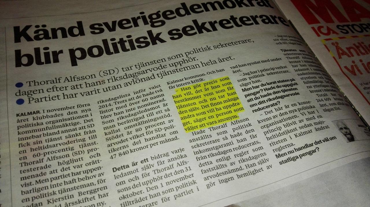 Пример акцентирования в шведской газете
