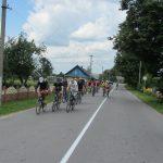 Коллона велосипедистов на деревенской дороге